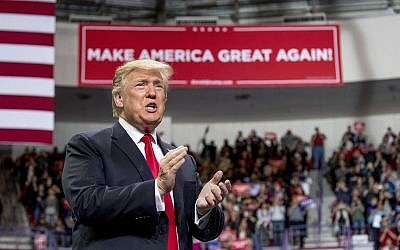 US President Donald Trump arrives at a rally at Resch Center Complex in Green Bay, Wis., Saturday, April 27, 2019. (AP Photo/Andrew Harnik)