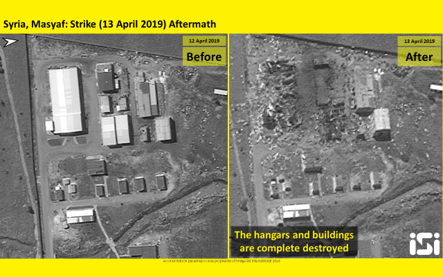 Satellite photos released by ImageSat International shows the aftermath of an airstrikes attributed to Israel that targeted a Syrian military base in Masyaf in the Hama province on April 12, 2019. (ImageSat International)