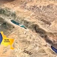 Screencapture from a video purporting to show a plan to to give the Palestinian part of the Sinai for a future state. US envoy Jason Greenblatt denies this is part of the Trump peace plan, Aprli 19, 2019. (Screencapture/Twitter)