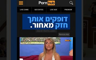 Screenshot of Israeli election banner ad on the porn website Pornhub. (Twitter screenshot)