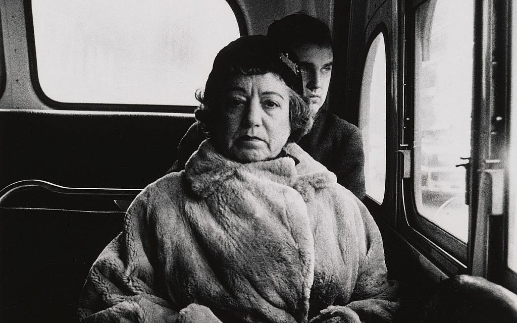 Detail from a lady on a bus, photographed by Diane Arbus. (Diane Arbus exhibition, London)