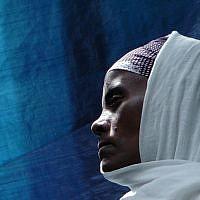 An Ethiopian worshiper at the synagogue in Addis Ababa. (Bernard Dichek/ Times of Israel)