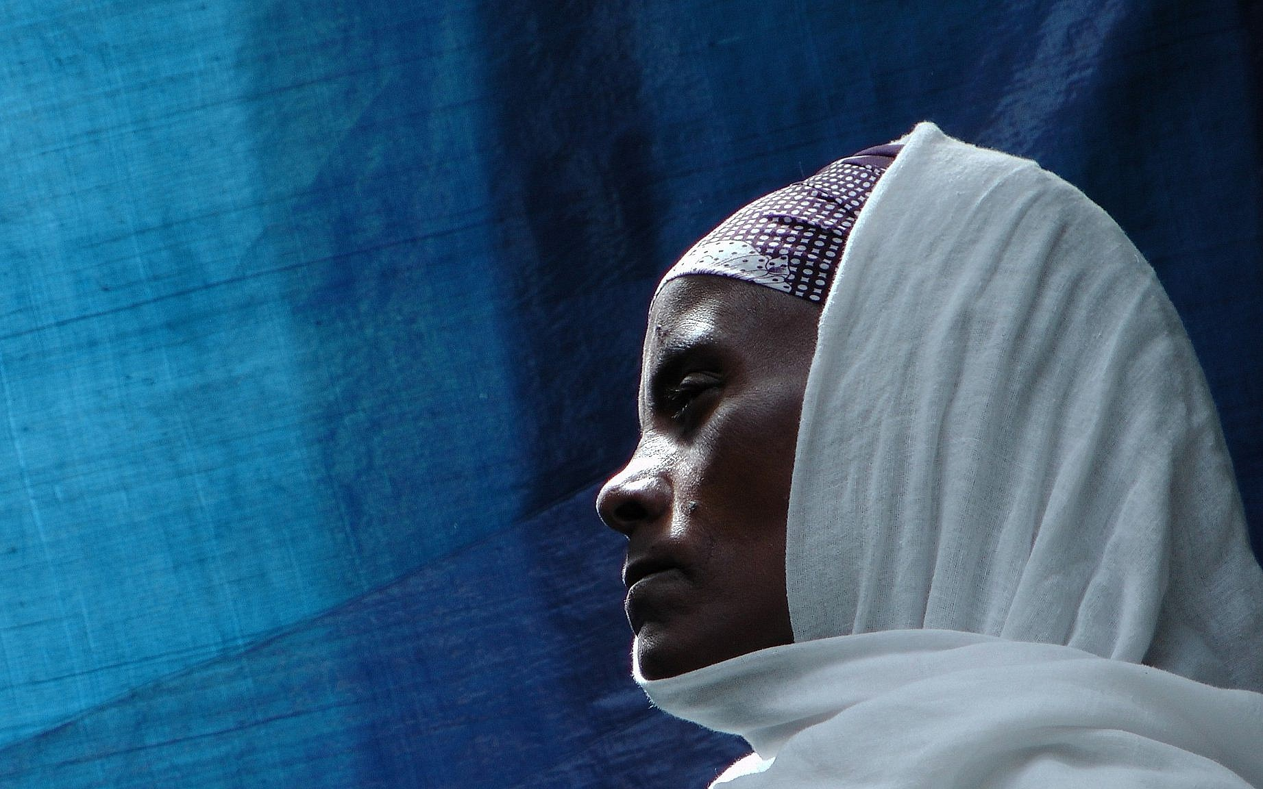 An Ethiopian worshiper at the synagogue in Addis Ababa. (Bernard Dichek/ Times of Israel)