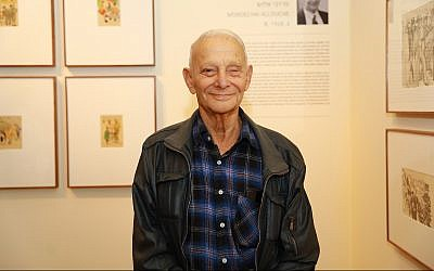 Mordechai Allouche, a Holocaust survivor whose art is exhibited at 'New on Display,' at the Yad Vashem Museum of Holocaust Art, April 15, 2019. (Courtesy Yad Vashem)
