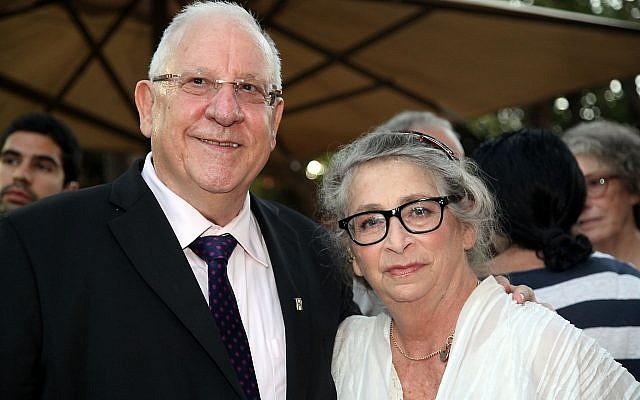 President Reuven Rivlin with his wife Nechama at the French ambassador's home in Jaffa, on June 18, 2014. (Gideon Markowicz/Flash90)