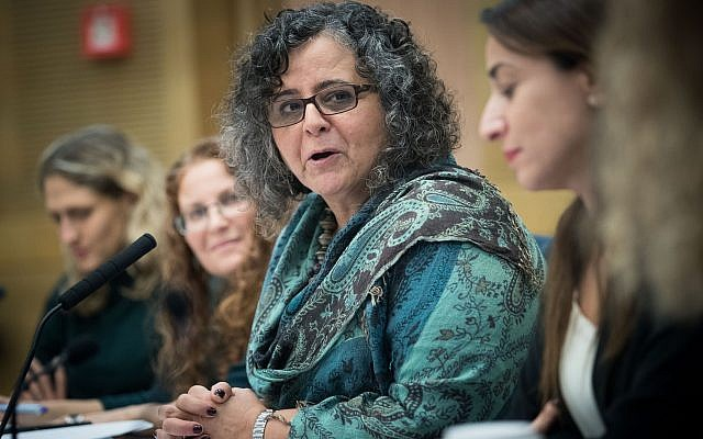 MK Aida Touma-Sliman leads a Status of Women and Gender Equality Committee meeting at the Knesset on November 21, 2017. (Yonatan Sindel/Flash90)