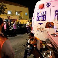 Illustrative. Ambulances and emergency services in Beitar Illit, in the West Bank, on October 9, 2018. (Nati Shohat/Flash90/File)