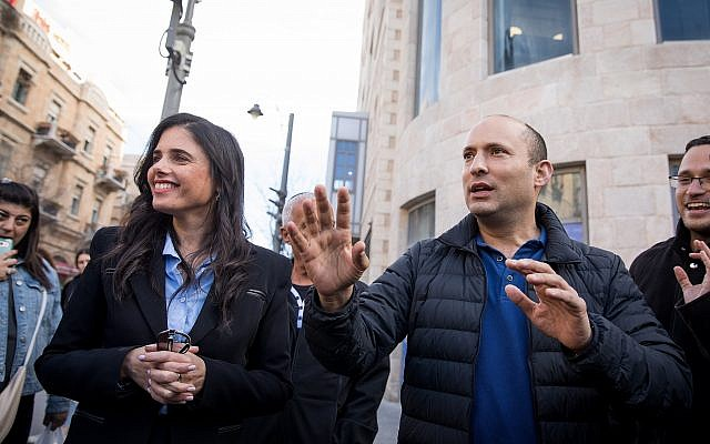 Education Minister Naftali Bennett and Justice Minister Ayelet Shaked from the New Right party at an election campaign tour in central Jerusalem on January 23, 2019. (Noam Revkin Fenton/Flash90)