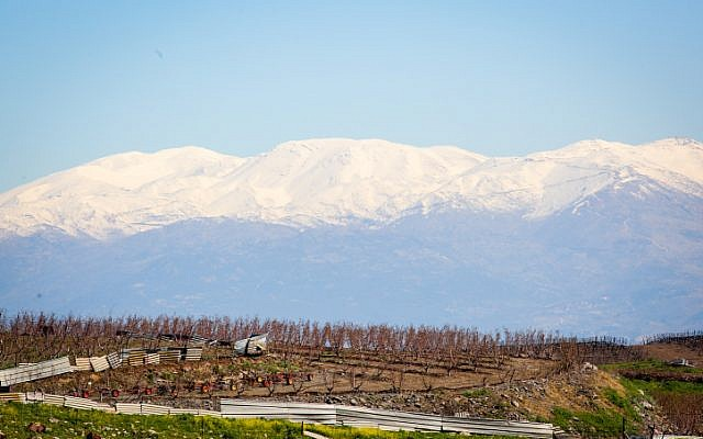 View of Mount Hermon covered with snow in northern Israel, as it seen from Route 886, on March 8, 2019. (Yaakov Lederman/Flash90)