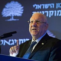 President Reuven Rivlin speaks at a conference organized by Israel Democracy Institute in Tel Aviv on March 14, 2019. (Yossi Zeliger)