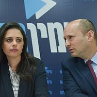 Education Minister Naftali Bennett (R), Justice Minister Ayelet Shaked (L), hold a press conference of the New Right party, in Tel Aviv on March 17, 2019. (Flash90)