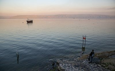 View of the Sea of Galilee as seen from the promenade of Tiberias on March 18, 2019. (David Cohen/Flash90)