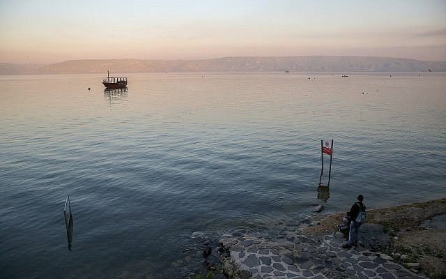 View of the Sea of Galilee as seen from the promenade of Tiberias on March 18, 2019 (David Cohen/Flash90)