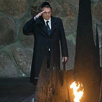 Brazilian president Jair Bolsonaro during a visit at the Yad Vashem Holocaust memorial museum in Jerusalem on April 2, 2019. (Noam Revkin Fenton/Flash90)