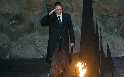 Brazilian president Jair Bolsonaro during a visit at the Yad Vashem Holocaust memorial museum in Jerusalem on April 2, 2019. (Noam Revkin Fenton/Flash90)