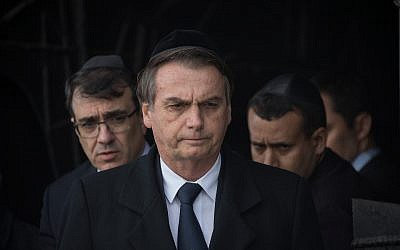Brazilian President Jair Bolsonaro during a visit at the Yad Vashem Holocaust memorial museum in Jerusalem on April 2, 2019 (Noam Revkin Fenton/Flash90)