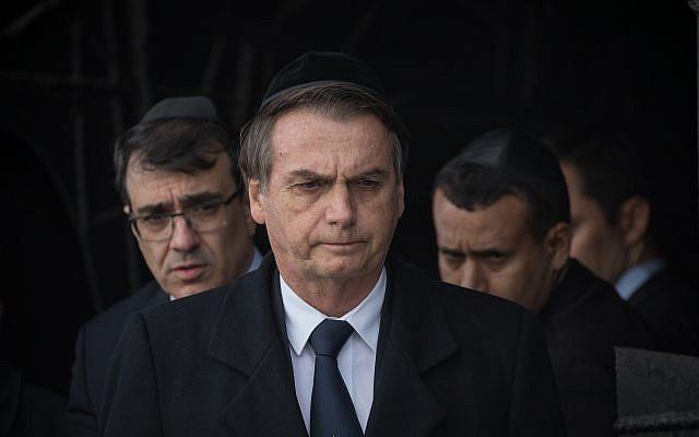 Brazilian President Jair Bolsonaro during a visit at the Yad Vashem Holocaust memorial museum in Jerusalem on April 2, 2019 (Noam Revkin Fenton/Flash90)