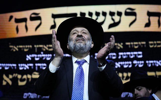 Shas party leader Aryeh Deri attends a campaign event in Jerusalem on April 2, 2019. (Noam Revkin Fenton/Flash90 )
