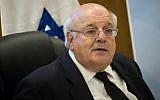 Justice Hanan Melcer, chairman of the Central Elections Committee for the 21st Knesset, attends a committee meeting at the Knesset, April 3, 2019. (Yonatan Sindel/Flash90)