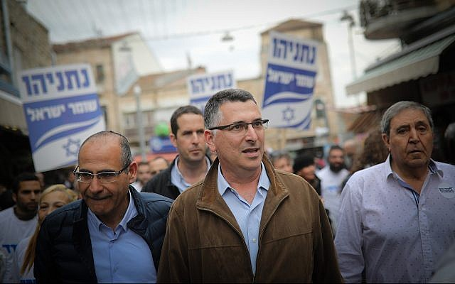 Senior Likud party member Gideon Sa'ar is seen during a campaign stop at Jerusalem's Mahane Yehuda market, on April 4, 2019. (Hadas Parush/Flash90)