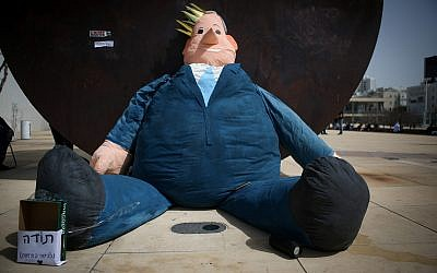 A giant doll in the form of Prime Minister Benjamin Netanyahu, placed at Habima Square in Tel Aviv on April 7, 2019. (Flash90)