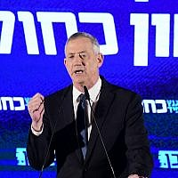 Blue and White party chairman Benny Gantz speaks during an election campaign event for the Blue and White party in Tel Aviv on April 7, 2019 (Tomer Neuberg/Flash90)