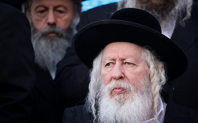 Rabbi Yaakov Aryeh Alter of the Gur Hassidic Dynasty attends a rally of United Torah Judaism party, ahead of the upcoming elections, in Jerusalem, April 8, 2019. (Noam Revkin Fenton/Flash90)