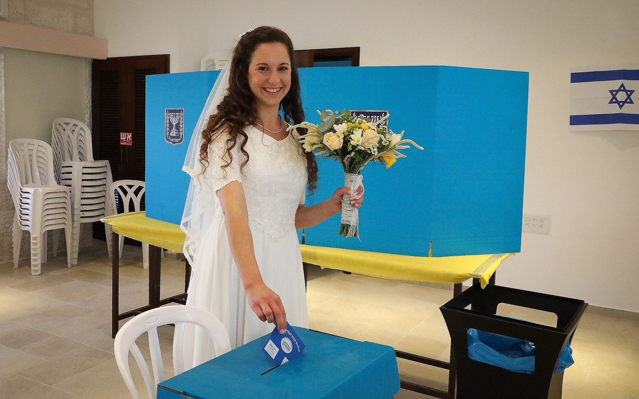 Bride Tsufit Lam Casts Her Ballot At A Voting Station In The West Bank Settlement Of