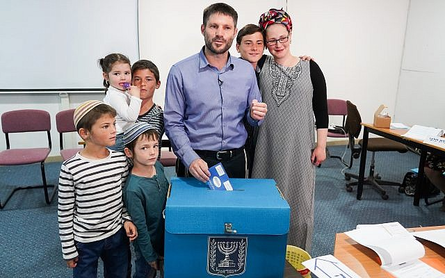 Head of the National Union party, MK Bezalel Smotrich, casts his ballot at a voting station in the West Bank settlement of Kedumim during the Knesset Elections on April 9, 2019. (Hillel Maeir/Flash90)