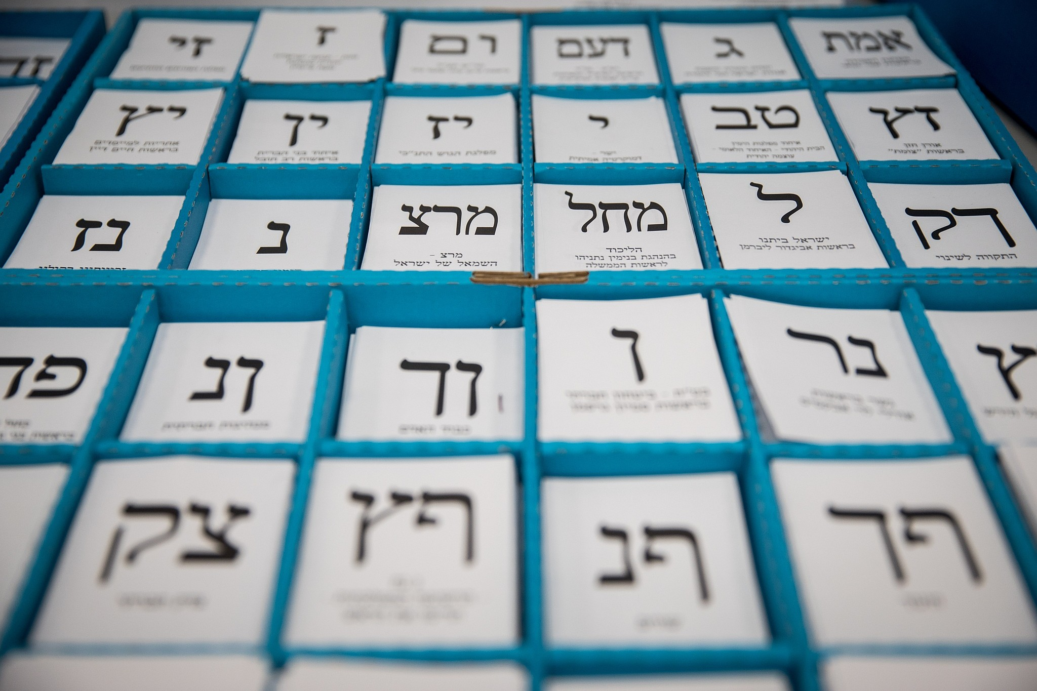 c9d2a850d8b A tray of ballot slips at a voting booth in Israel's parliamentary election  on April 9