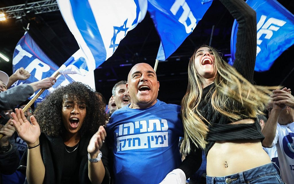 Likud party supporters celebrate as the results in the Israeli general elections are announced, at the party headquarters in Tel Aviv, on April 09, 2019. (Noam Revkin Fenton/FLASH90)