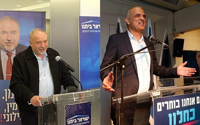 Head of the Yisrael Beytenu party Avigdor Liberman, left. Kulanu party leader Moshe Kahlon, right, on April 9, 2019. (Judah Ari Gross/Times of Israel, Roy Alima/FLASH90)