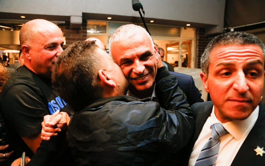 Head of the Kulanu party Moshe Kahlon speaks to party supporters at the party headquarters, on April 09, 2019. (Roy Alima/FLASH90)