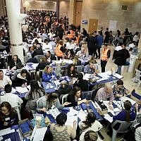 The Central Elections Committee counts ballots from soldiers and absentee voters at the Knesset in Jerusalem, April 10, 2019. (Noam Revkin Fenton/Flash90)