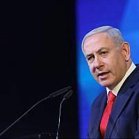 Prime Minister Benjamin Netanyahu speaks at an event in Jerusalem honoring the families of Israeli soldiers killed in battle, on April 14, 2019. (Noam Revkin Fenton/Flash90)