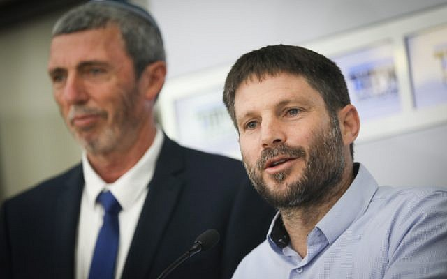 Bezalel Smotrich (R) and Rafi Peretz (L) of the Union of Right Wing Parties hold a press conference after a meeting with President Reuven Rivlin at the President's Residence in Jerusalem on April 16, 2019, (Noam Revkin Fenton/Flash90)