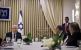 Members of  the Likud party meet with President Reuven Rivlin at the President's Residence in Jerusalem on April 15, 2019, as Rivlin began consulting political leaders to decide who to task with trying to form a new government (Yonatan Sindel/Flash90)