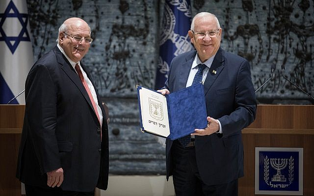 Central Elections Committee Chairman Hanan Melcer presents the official results of the April 9, 2019 Knesset elections to President Reuven Rivlin at the President's Residence in Jerusalem, April 17, 2019. (Hadas Parush/Flash90)