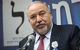 Yisrael Beytenu party leader Avigdor Liberman leads a faction meeting at the Knesset on April 30, 2019. (Noam Revkin Fenton/Flash90)