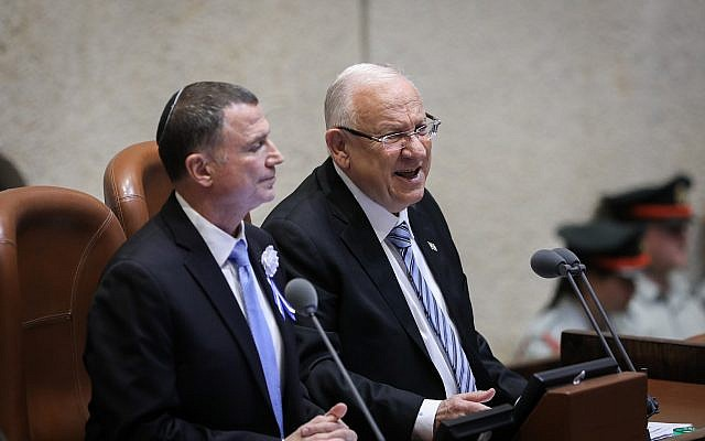 President Reuven Rivlin and Knesset Chairman Yuli Edelstein at the Plenary Hall during the swearing-in ceremony of Knesset members as a new session opens following the elections, on April 30, 2019 (Noam Revkin Fenton/Flash90)