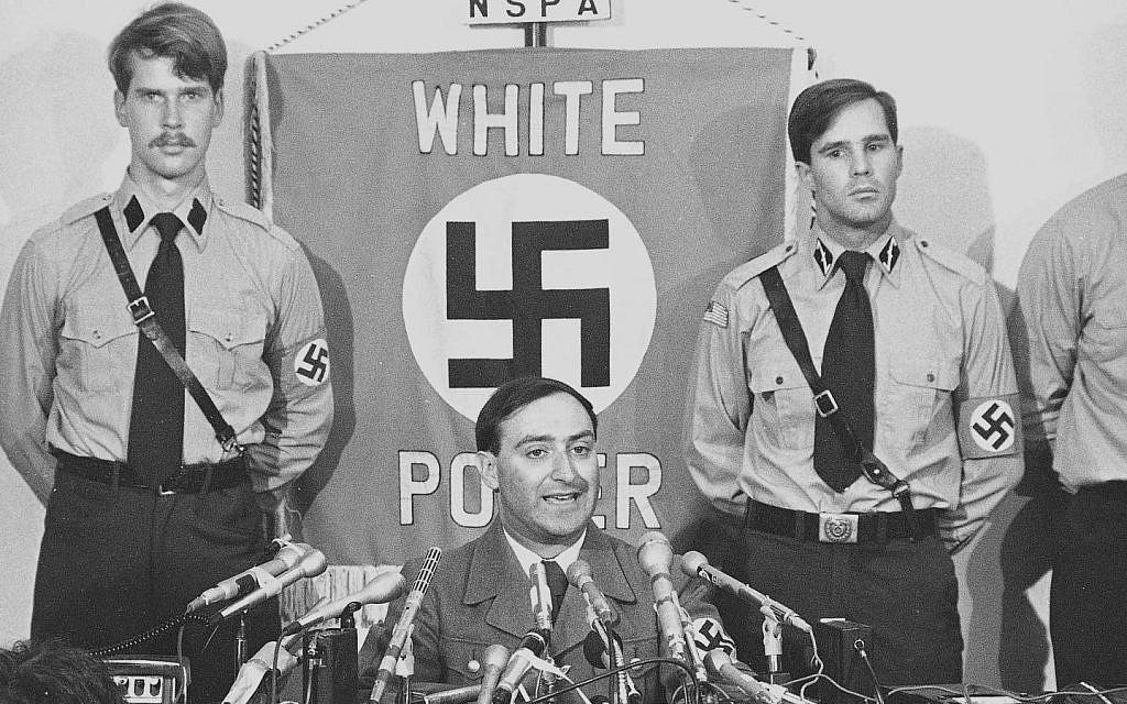 Illustrative: American Nazi leader Frank Collin calls off the Skokie march in 1978. (public domain)