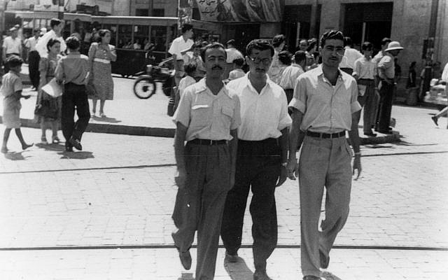Israeli spy Gamliel (left) walks with Isaac Shimon Horesh in downtown Beirut, in the summer of 1949. (courtesy of the Palmach Museum, Tel Aviv)