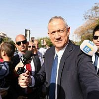 Blue and White leader Benny Gantz arrives at a polling station to vote in his hometown of Rosh Ha'ayin on April 9, 2019. (Sraya Diamant/Blue and White)