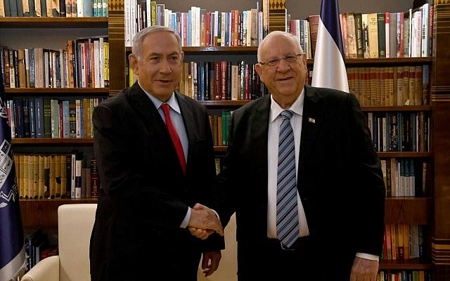 Prime Minister Benjamin Netanyahu meets with President Reuven Rivlin in the President's Residence in Jerusalem on April 17, 2019, as Rivlin tasks him with forming a government (Haim Zach/GPO)