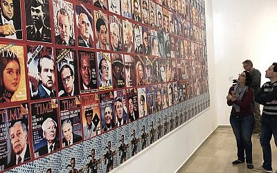 'Jesslyn Fax Stories,' a pastiche of Time magazine covers, at the entrance of an exhibit at the Haifa Museum of Art (Jessica Steinberg/Times of Israel)