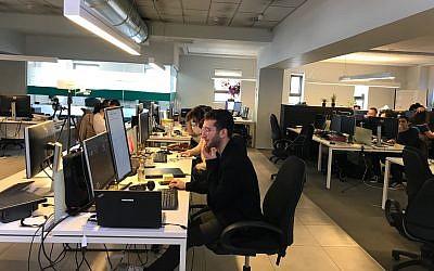 The Tel Aviv office of Israeli startup Cortica; Feb. 12, 2019 (Shoshanna Solomon/Times of Israel)