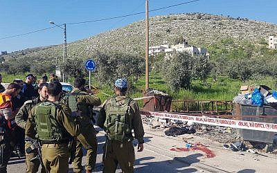 The scene of an alleged attempted stabbing attack near Hawara in the northern West Bank, April 3, 2019. (Courtesy)