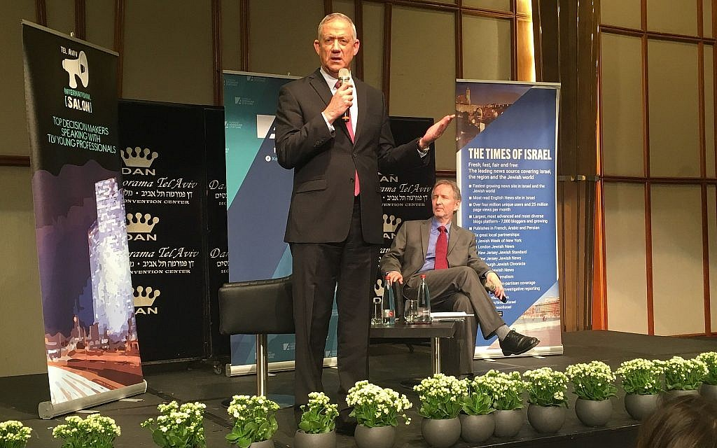 Blue and White chair Benny Gantz speaking at a Times of Israel / Tel Aviv International Salon event on April 2, 2019. (Stephanie Bitan/Times of Israel)