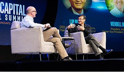 Wendell Brooks (left), president of Intel Capital and senior vice president of Intel Corp., and Lip-Bu Tan, CEO of Cadence Design Systems and chairman of Walden International, discuss disruption on stage at the 2019 Intel Capital Global Summit on April 1, 2019. (Intel Corporation)