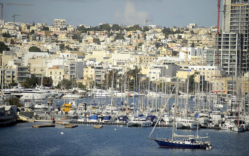 Boats in the harbor across from Valletta, Malta's capital city. (Larry Luxner/Times of Israel)